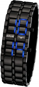 APUS Zeta Black Blue AS-ZT-BB LED Uhr für Herren Design Highlight
